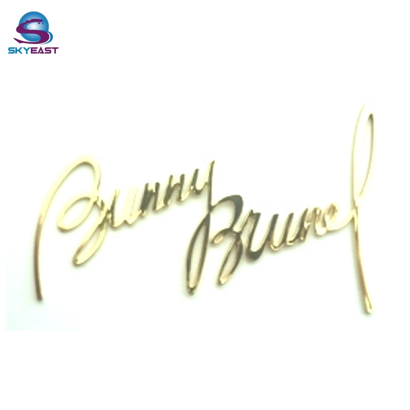 Special Customized Shiny Gold Carved Signature Style Metal Nameplates