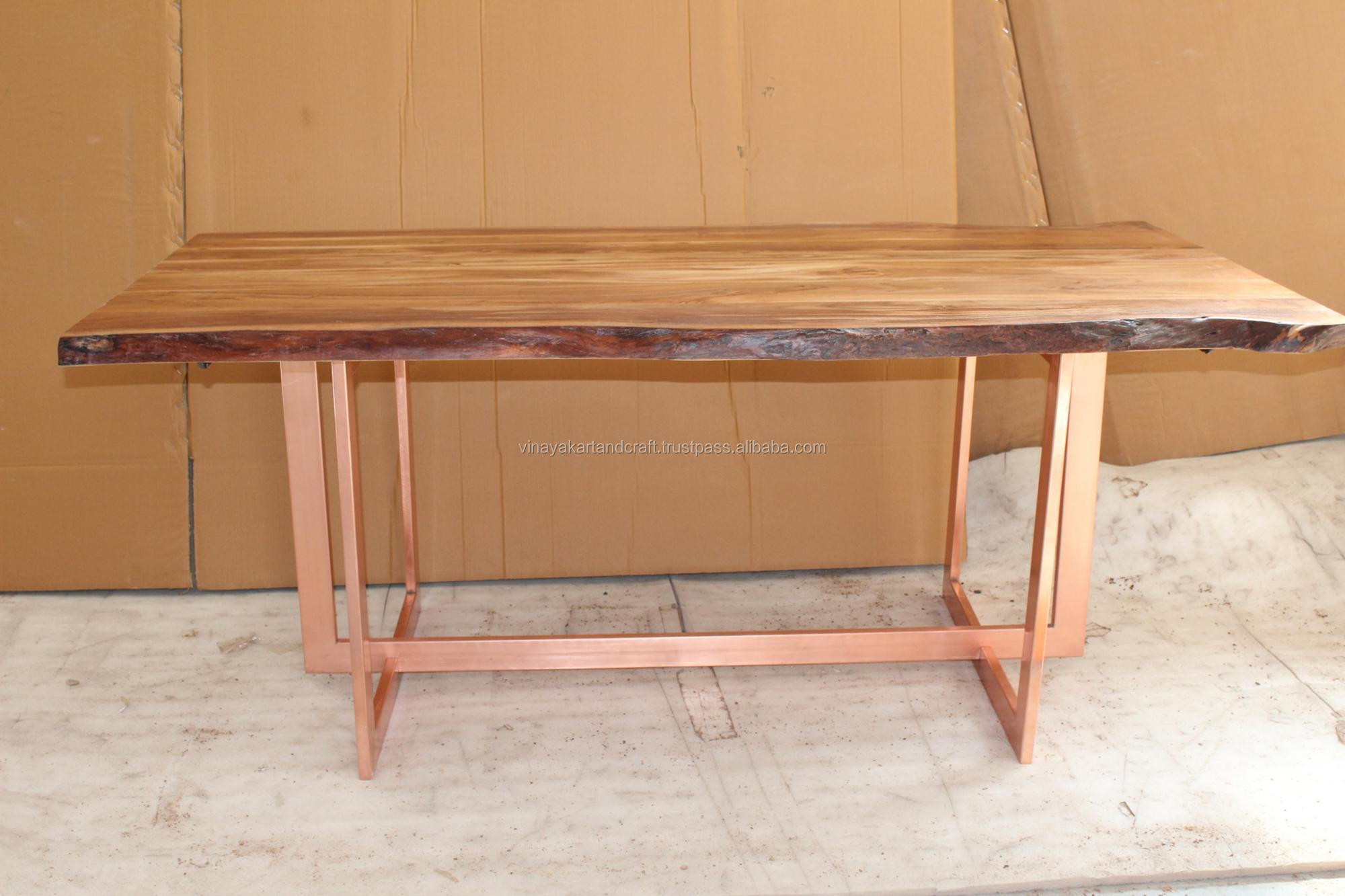 Loft industrial live edge dining table modern solid slab acacia wood live edge dining table live edge natural curve dining table