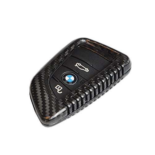 T-Carbon Geniune Carbon Fiber Remote Key Chain 3k Highlight Polish Keyless Protection Case Cover for BMW X5 X6 218I