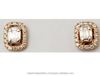 Baguette Cut Illusion Set Cher Diamond Stud Earrings Manufacturer Earring Yellow Gold Studs Man Made