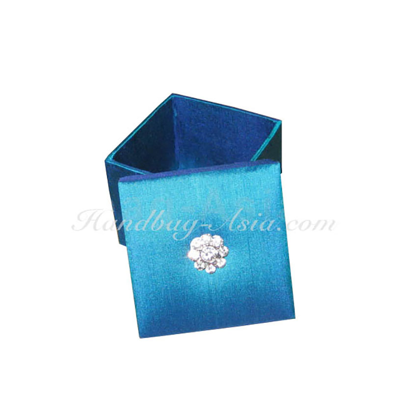 Royal Blue Thai Silk Crystal Brooch Lift Lid Wedding Favour Box Buy