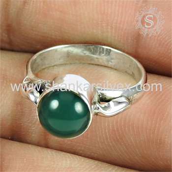 Flashy green onyx gemstone finger ring silver jewellery exporter 925 sterling silver rings jewelry online