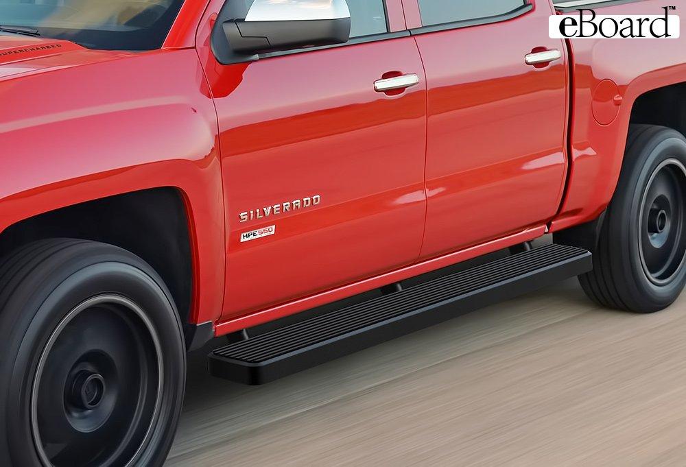 eBoard Running Boards Matte Black 4 Fits 01-13 Chevy Silverado//GMC Sierra Crew Cab