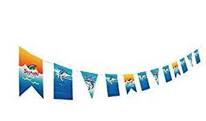 Shark Jawsome Birthday Party Garland - Card Stock Pennant Decoration Banner - Shark Party Supplies