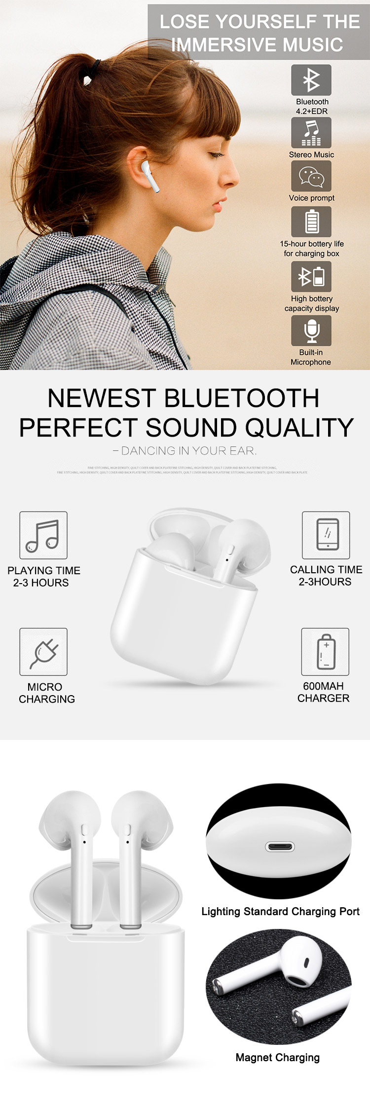 Good sell private i9 wireless headphone, bt mini earphone for ecouteur pour telephone/i7/i8/i9s with charging case