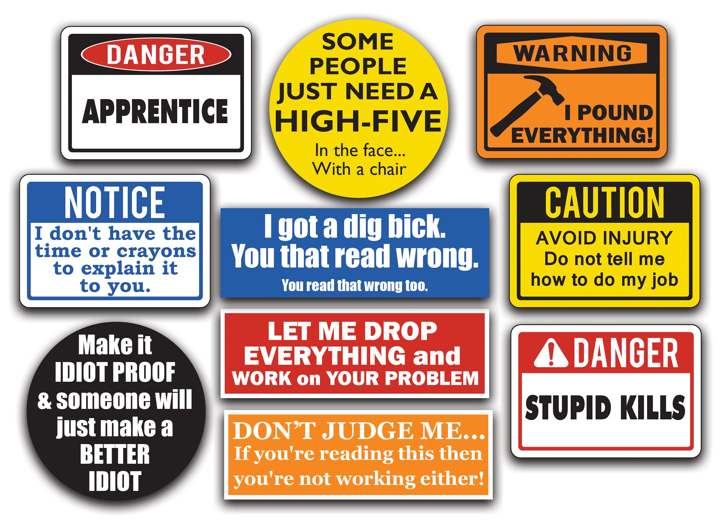 Buy 10-Pack of Funny Hard Hat Stickers  These Vinyl Decals