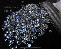 Wholesale Factory Price Natural Blue Flash Rainbow Moonstone 6x6mm Round Cabochon Gemstone bg1189