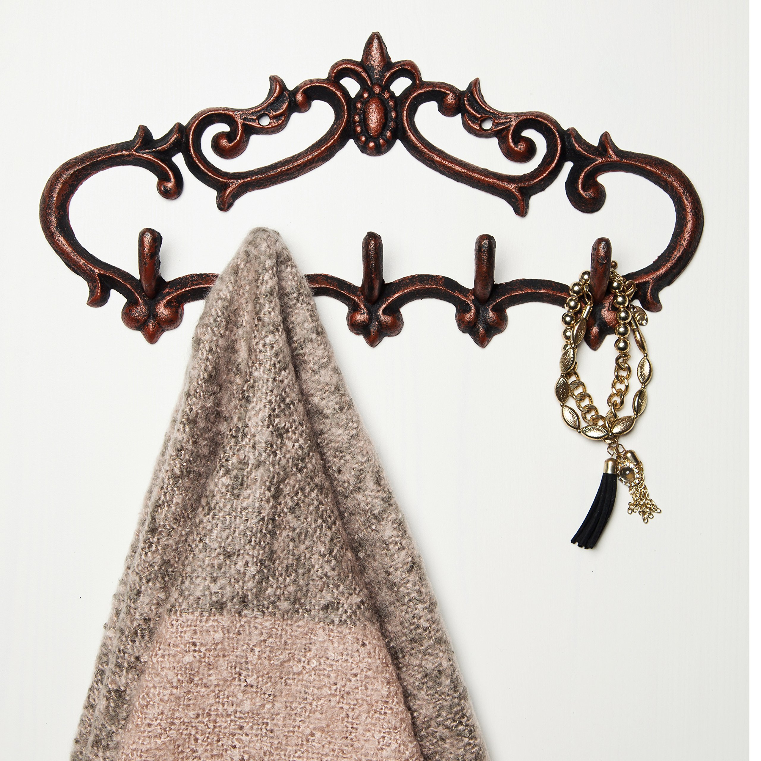 """Comfify Cast Iron Wall Hanger – Vintage Design with 5 Hooks - Keys, Towels, etc - Wall Mounted, Metal, Heavy Duty, Rustic, Vintage, Decorative Gift Idea - 12.9x 6.1"""""""