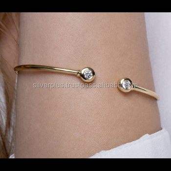 Solid 14k Yellow Gold Natural Diamond Cuff Indian Bangle Bracelet Wedding Jewelry
