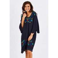 Women Fashion Design Wholesale Clothing 3/4 Wide Bell Sleeves Embroidery Mexican Tunic/Dress