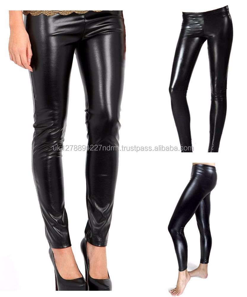 "Black Shiny/""wet look/"" Leggings"