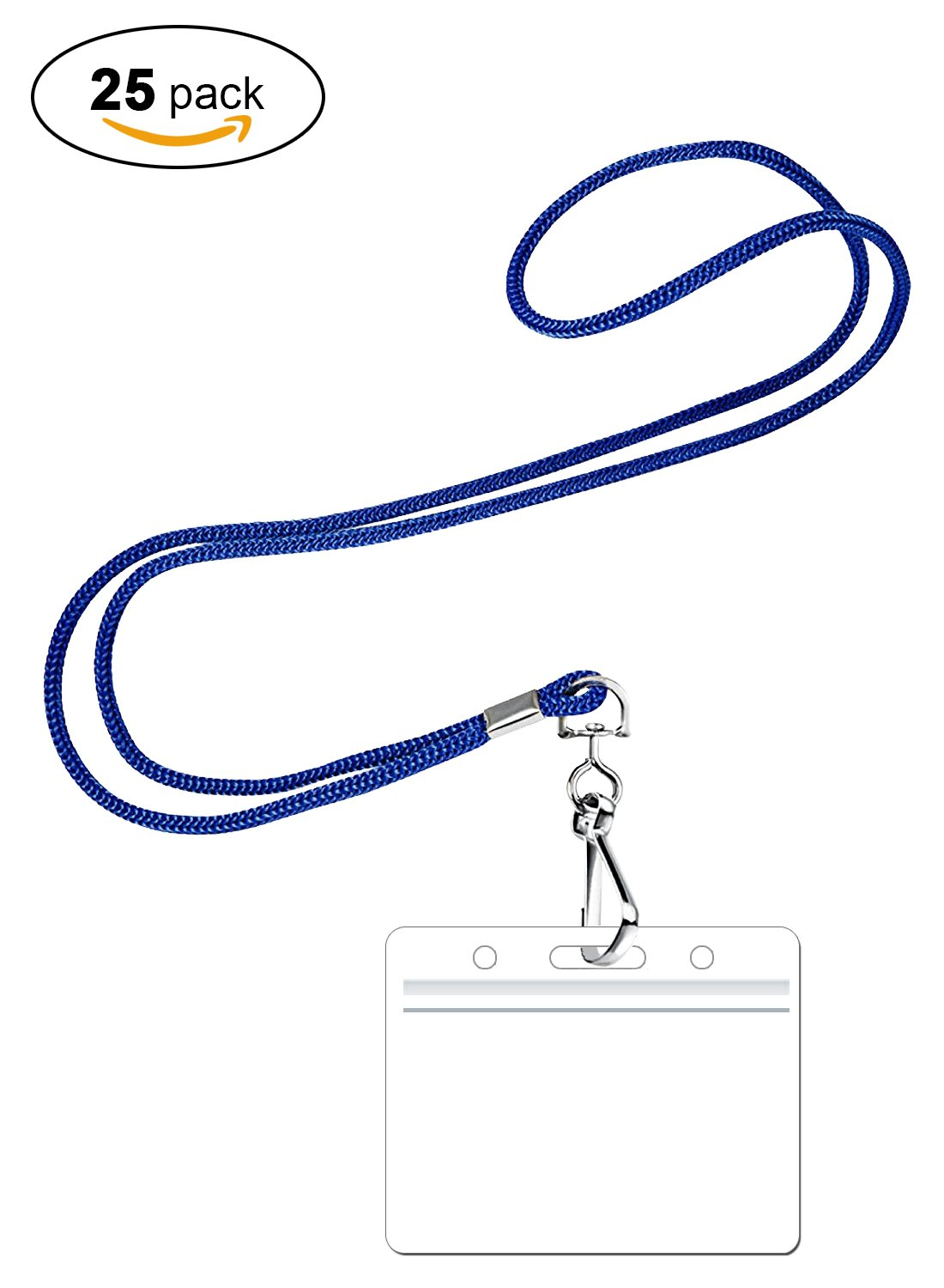PROMOKING Woven Lanyard with Horizontal ID Badge Holder and Swivel Hook Available In 3 Colors | Red, Royal Blue, Black (25pk, Royal Blue)