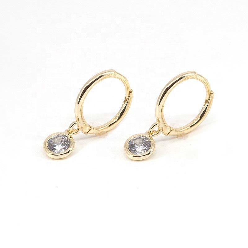 Alibaba.com / LOZRUNVE Tiny 925 Silver Diamond Single Stone Dangle Hoop Earring