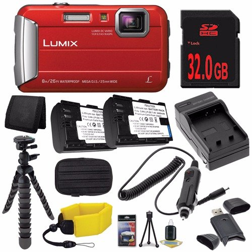 Panasonic DMC-TS30R LUMIX Active Lifestyle Tough Camera (Red) + DMW-BCK7 Replacement Lithium Ion Battery + External Rapid Charger + 32GB SDHC Class 10 Memory Card + Small Case + Waterproof Floating Strap + 12-Inch Flexible Tripod with Gripping Rubber Legs + SD Card USB Reader + Memory Card Wallet +