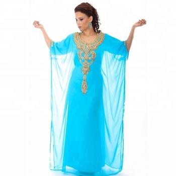 2018 hot selling Islamic clothing muslim women abaya kaftan Hand Beaded designs Light blue wedding moroccan kaftan