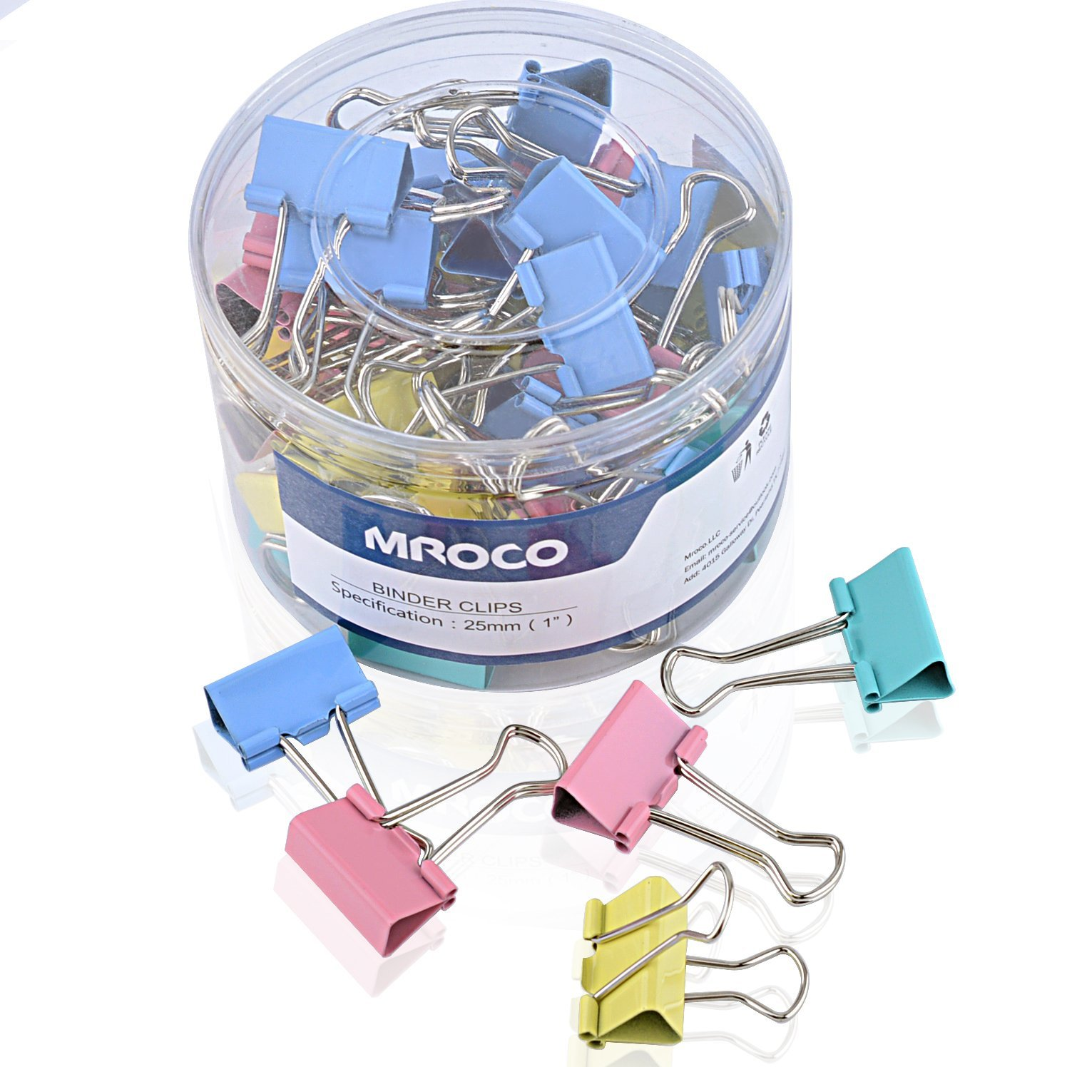MROCO 48 PCS Binder Clips Assorted Colors, Small 1 Inch Width, 1/2 Inch Paper Holding Capacity, Paper Clamps Binder Clamps for Office, Home, Schools, Kitchen Home Usage (Colored)