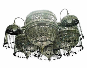 Br47 Antique Reproduction Silver Plated Decorative Lighting Huge Chandelier Crystal Moroccan Style Br