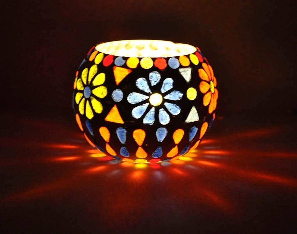 Handicraft Kottage Indian Classic Handcrafted Multicolor Wall & Table Decorative Tea Light Candle Holder for Home, Living Room & Office/Handmade Designer Votive Glass Ball Candle Holder Stand w/ Beads