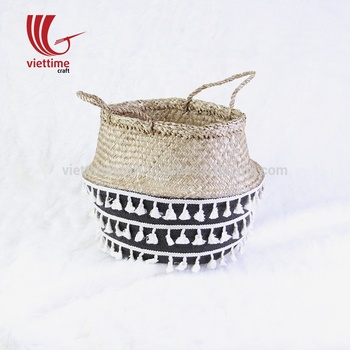 Wholesale belly seagrass basket collaboration with princess tassel
