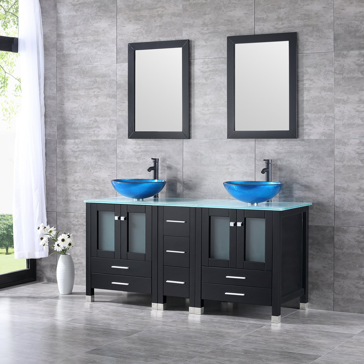 20d90dd7a1a Get Quotations · Walcut 60 Inch Bathroom Vanity and Sink Combo Modern MDF  Double Cabinet with Double Glass Vessel