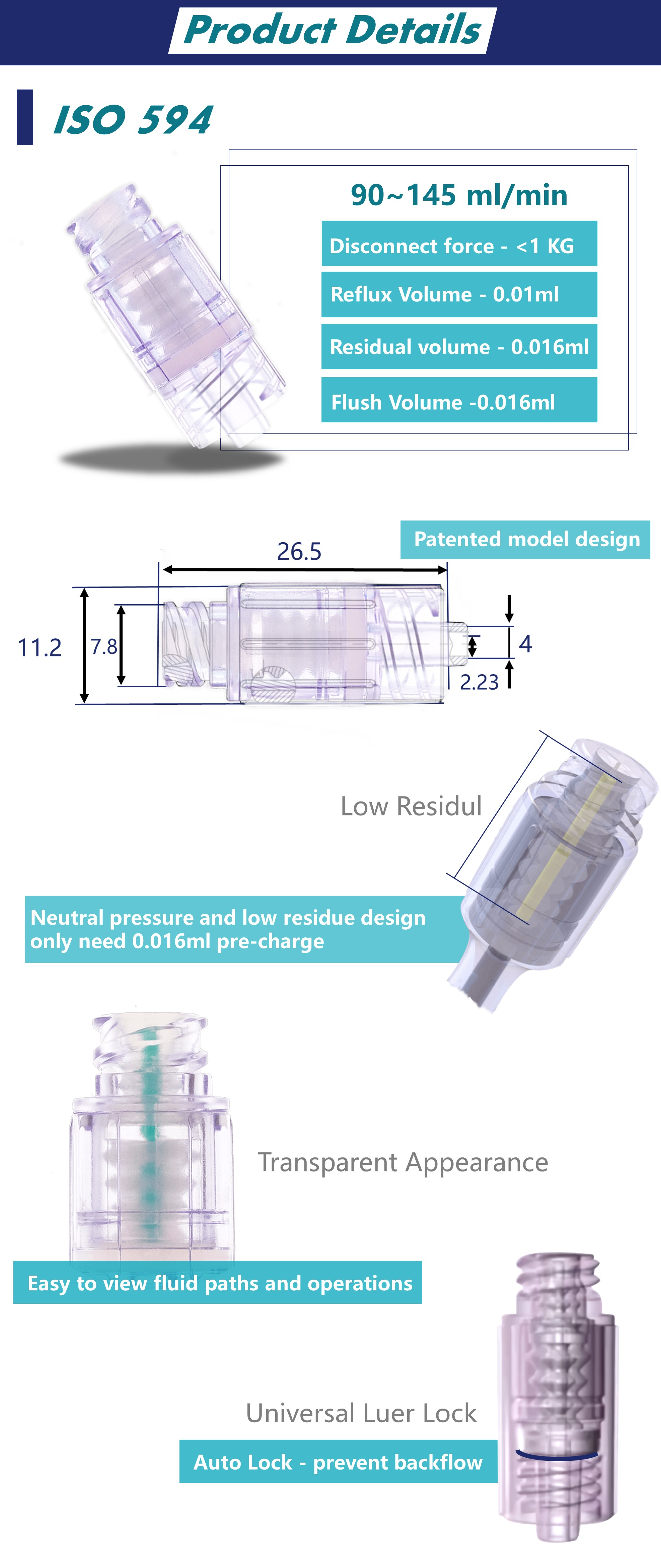 Needle free Low Residual Neutral Pressure Infusion Components Made in Taiwan