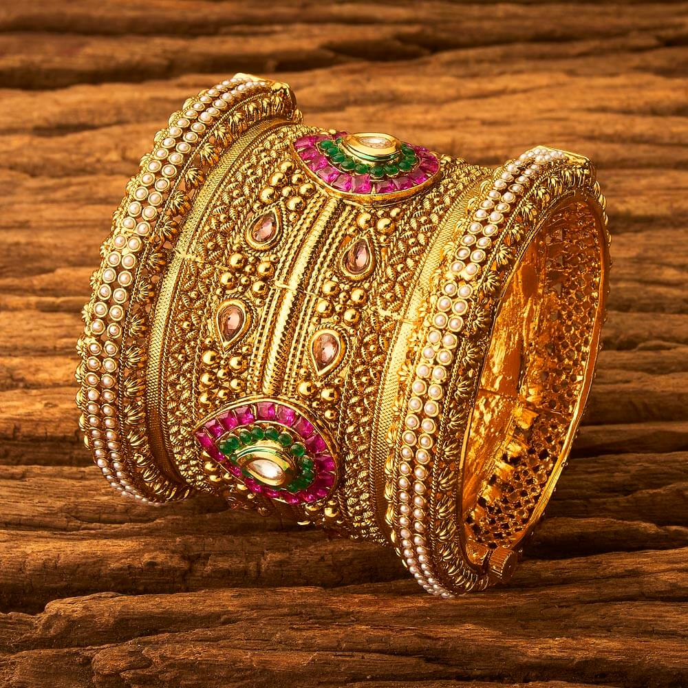Gold plated Traditional Designer Bangle 17156 Rubygreen