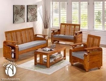High Quality Teak Wood Sofa Set Design Wooden Living