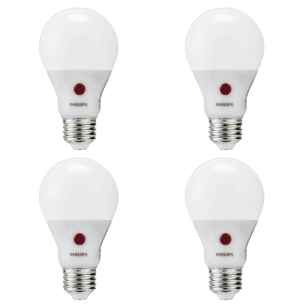 Philips LED Dusk-to-Dawn A19 Frosted Light Bulb: 800-Lumen, 2700-Kelvin, 8-Watt (60-Watt Equivalent), E26 Base, Soft White, 4-Pack