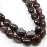 Chocolate Moonstone Gemstone Smooth Polish Nuggets Beads AAA Quality Necklace