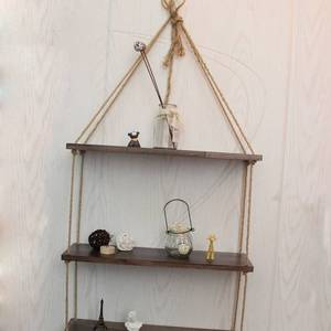 Eco-friendly Space Saving Wood Hanging Swing Rope Floating Shelves Racks for household Decorations