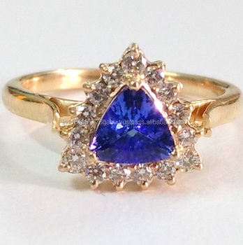 Unique tanzanite and Diamond 14k solid gold cluster set Halo Engagement ring