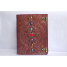 genuine goat leather custom flap leather journal with stones