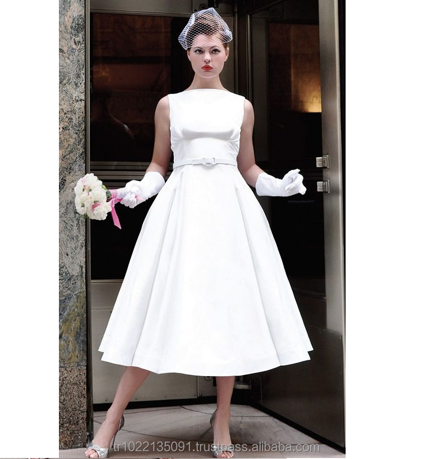 Retro style vintage inspired satin back deep open, A line luxury elegant cheap wedding dress