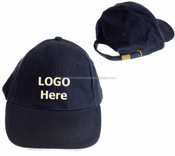 Navy Blue Baseball Caps Hat Blank Plain Color with Buckle and Logo  Embroidery 754da7d1c21