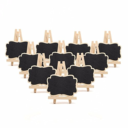 Mayitr 10Pcs Mini Wooden Chalkboard Sign Blackboard Easel for Wedding Party Supplies with Stand