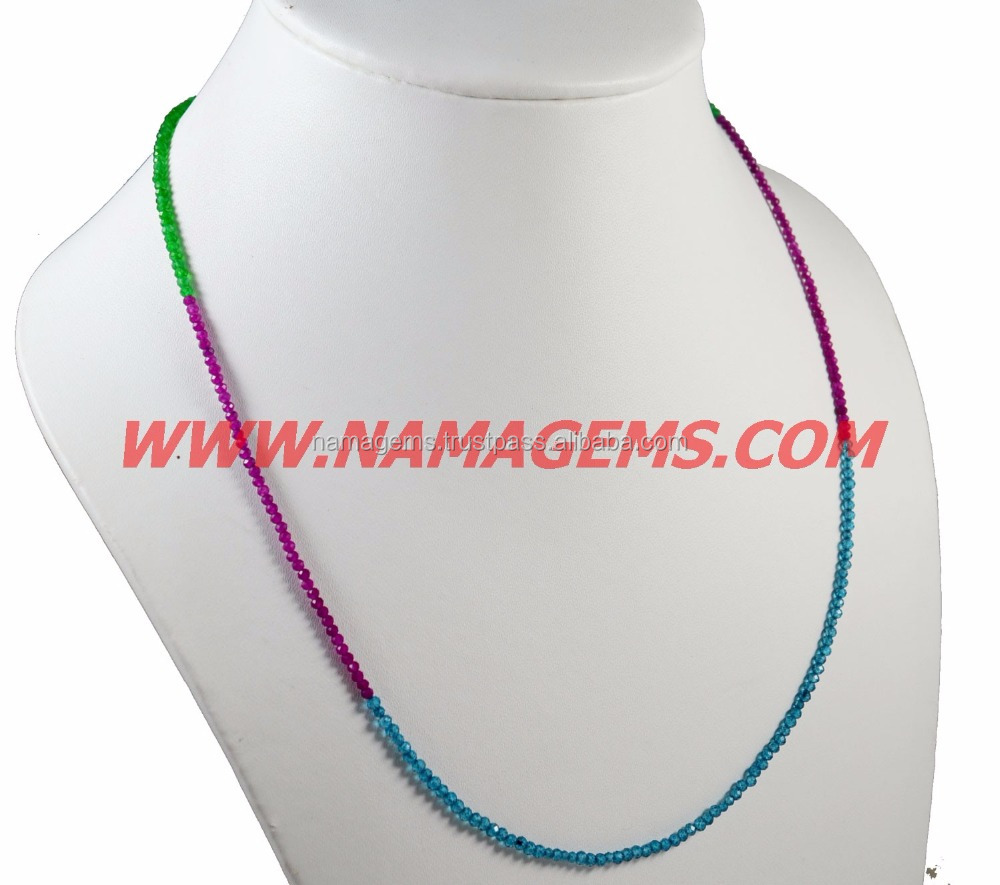 2-3 MM Rondelle Faceted Beaded Necklace, Stone L.B COLOR CRYSTAL COATED And JADE Semi Multi Ready Necklace