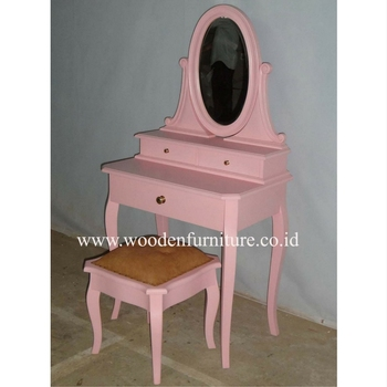 Kid Dressing Table With Mirror Clic Stool Antique Reproduction Dresser Children Furniture