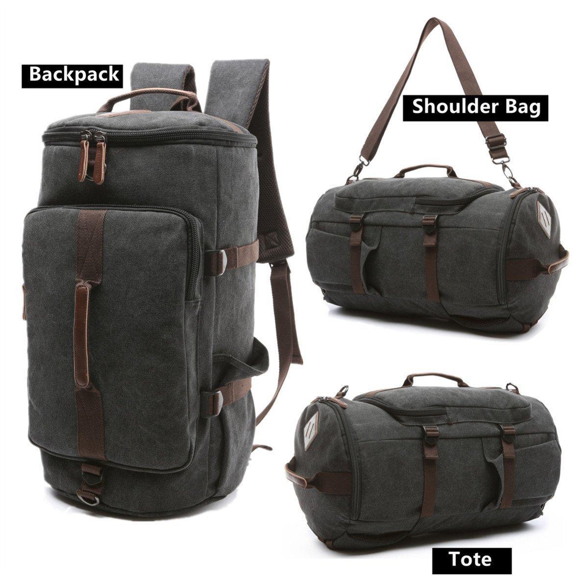 BAOSHA HB-26 Canvas Men Weekend Travel Duffel Bag Backpack Hiking Rucksack