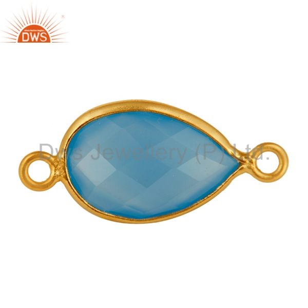 Blue Chalcedony Gemstone Connector Wholesale Gold Plated Silver Connector Jewelry Supplier