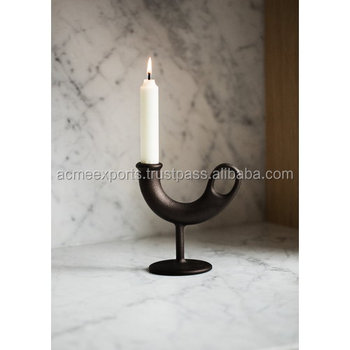 Designer Metal Candle Holder in Cast Iron With Black PC for Indoor Table Top USe
