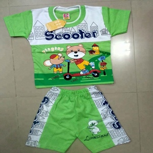 Print & Embroidered T-shirt and shorts Baby Clothing Set
