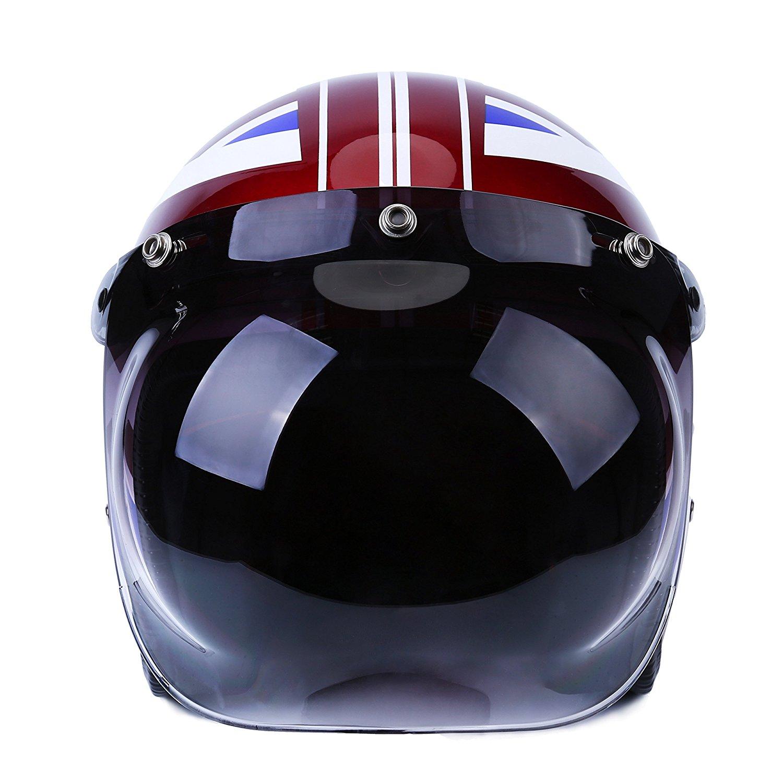 3973bbac Get Quotations · Autvivid Motorcycle Bubble Helmet Shield Smoke Tint Bubble  Shield Motor 3-Snap Flip Up Face