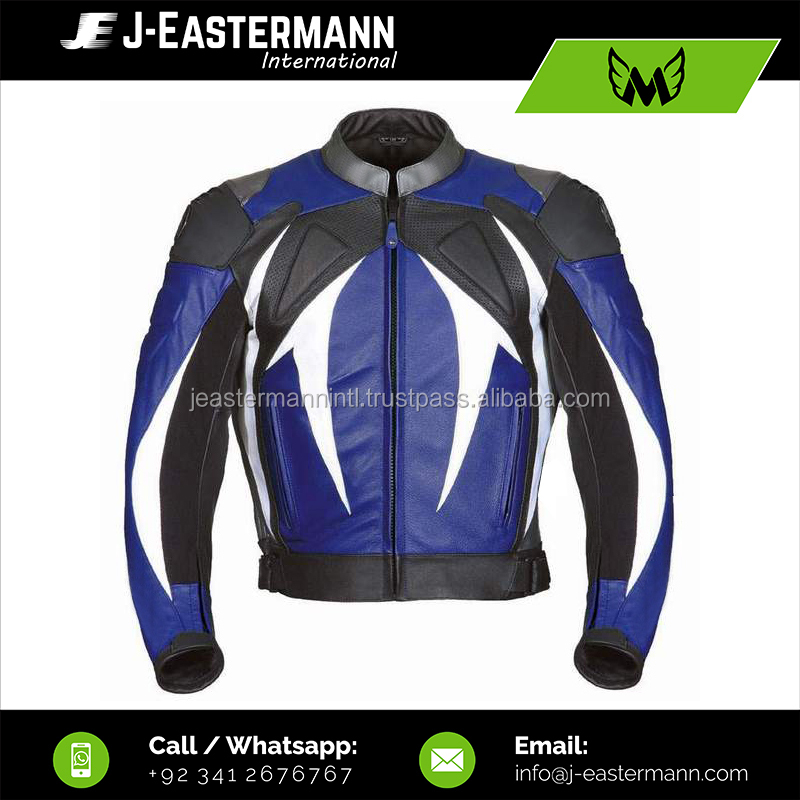 Professional Motorbike Racing Blue Leather Jacket, Shoulder Titanium's , Front Padded and Perforated