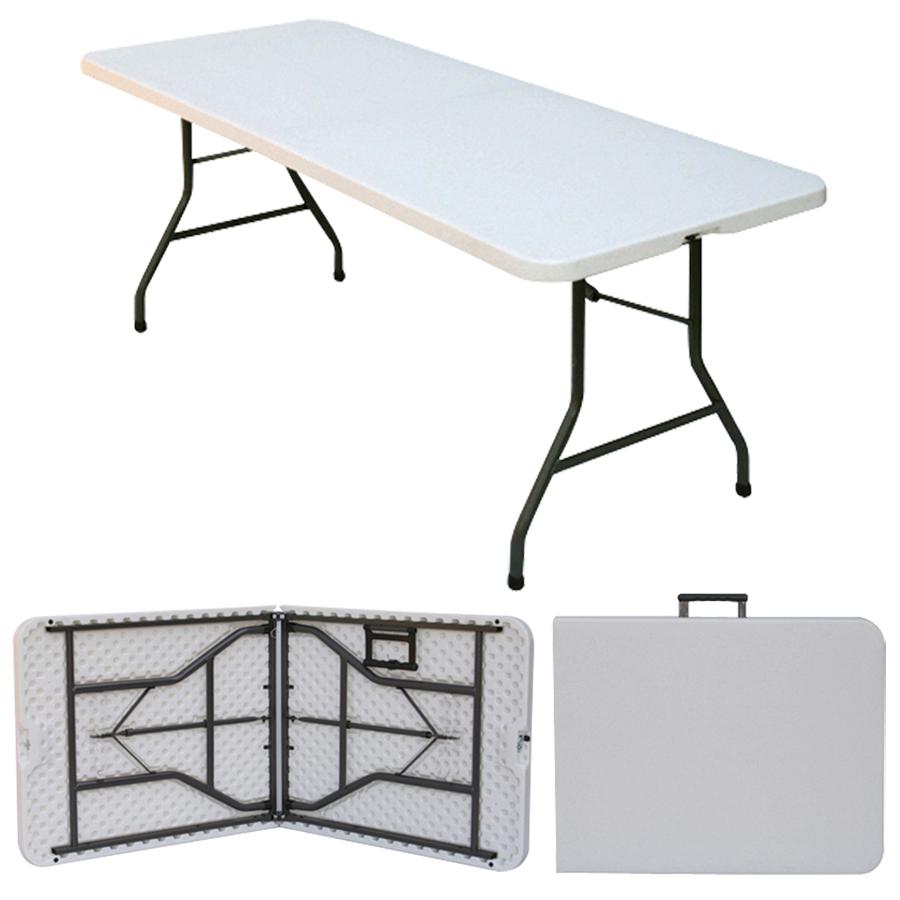 - 6ft White Plastic Folding Table - Rectangular - Super Tough,Folds