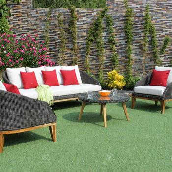New Design Poly Rattan Sofa Sets Outdoor Garden Furniture Acacia Wooden Legs