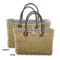 Natural seagrass fashion straw bag with leather handle