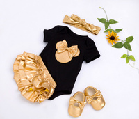 Baby Girl Clothes 4pcs Clothing Sets Black Cotton Rompers Golden Ruffle Bloomers Shorts Shoes Headband Newborn Clothes