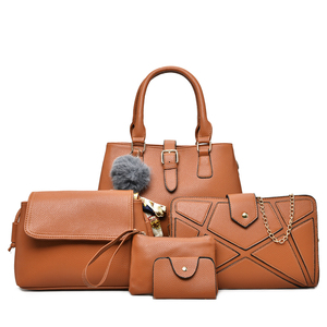 86625fb3bbf Cheap fashion luxury ladies pars 5 pieces pu leather long shoulder strap  large hand bag set