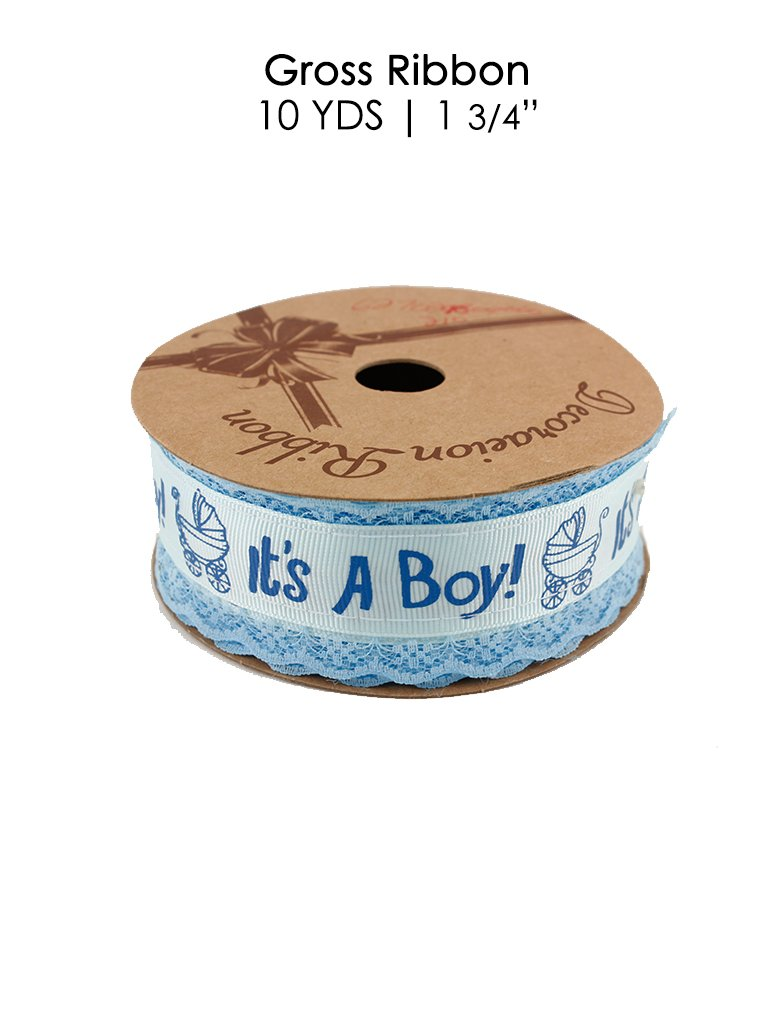 """Avanti Baby Shower Decoration Ribbon in Blue in 3 design. Size: 10 Yards in 1 1/4"""" and 1 3/4"""". Great for Baby Shower Decorations and related projects (1 3/4"""", """"It's A Boy!"""" 2)"""