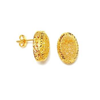 Dubai Middle East Arabic Pure Gold Jewelry Light Weight 18k 21k 22k Fine Yellow Earrings